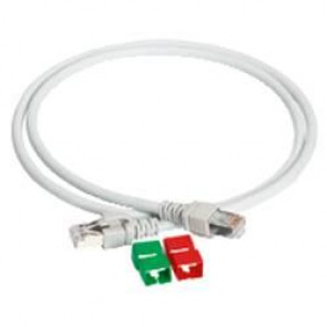 Actassi - cordon CL-MNC S/FTP 4 paires cat. 6A 550 MHz LSZH - 10 mètres - gris